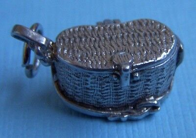 Vintage English movable creel opens to fish inside sterling charm