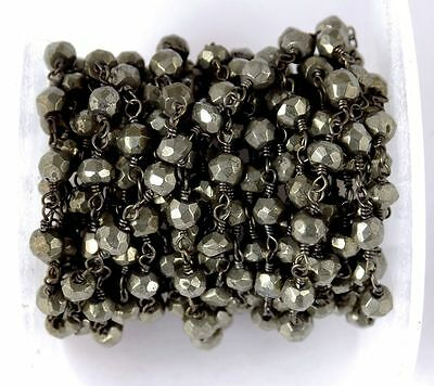 10 Feet Natural Pyrite Rosary Faceted Gemstone Beaded Chain Black Wire 3.5-4mm
