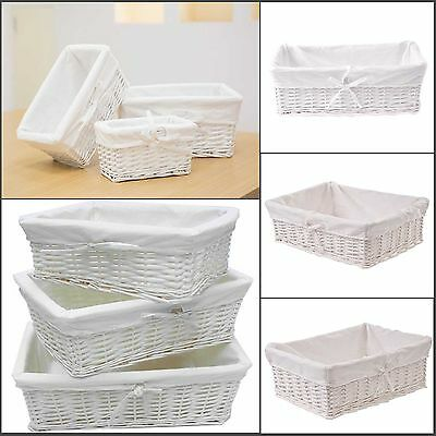 Rectangular White Wicker Storage Basket W/lining Home Display Décor Hamper New