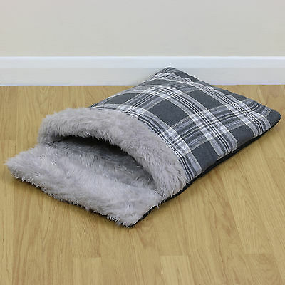Grey Check Faux Fur Cat/Kitten/Puppy Soft Snug/Warm/Cosy Sleeping Bag Pouch/Bed
