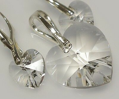 Earrings + Pendant Made With Swarovski Crystals *crystal Hearts* Crystal Silver