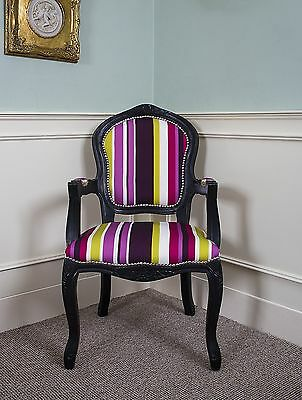 French Louis Armchair Black Purple Shabby Chic Antique Style Stripe Bedroom Hall