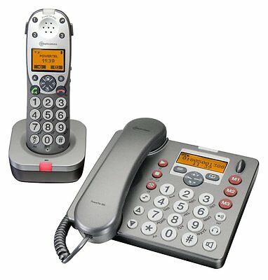 Amplicomms Powertel 880 Big Button Twin Corded/cordless Combi Telephone With A/m
