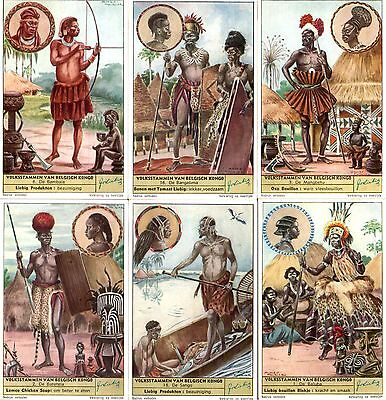 RARE COMPLETE SET 18 FULL COLOR ANTIQUE TRADE CARDS w CONGO TRIBES!! $300 RETAIL