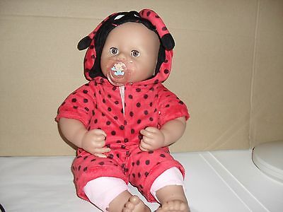 zapf creations chou chou interactive baby doll,brown eyes rare,ladybirdsuit