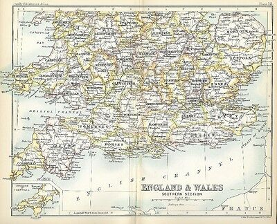 Original 1896 Railroad Map Southern ENGLAND WALES Plymouth Dover Southampton
