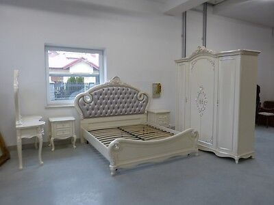 Italy Beautiful Baroque Style Silver / White Bedroom Set
