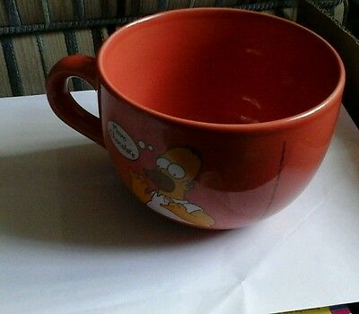 HOMER SIMPSON Chocolate coffee tea cup Mug 2000 Simpsons RARE huge 5 inches