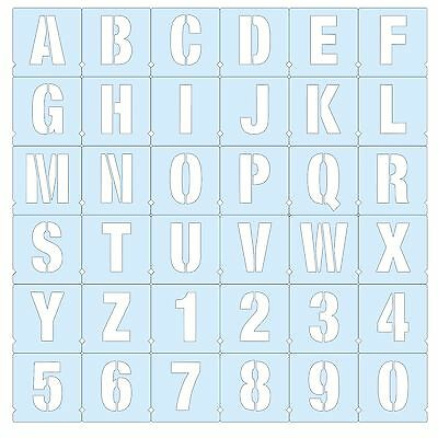 LETTERS a-z & NUMBERS 0-9 ALPHABET STENCILS x36 MOD CAPITALS 5 Sizes available