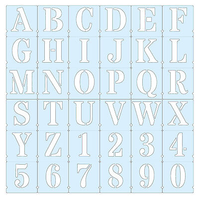 STENCIL LETTERS & NUMBERS ALPHABET ROMAN CAPITAL Sizes 30mm 40mm 50mm 70mm 100mm