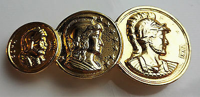 Vintage Ladies Roman Soldier Graduated Three Replica Coin Gold-Tone Belt Buckle