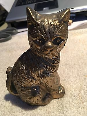 Brass Solid Heavy Antique Cat