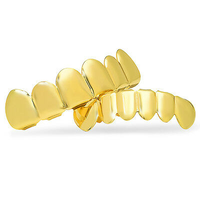 24k Gold Plated Over Brass Removable Top & Bottom Teeth Grillz Set
