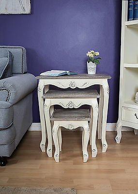 Shabby Chic Nest of 3 Tables Wood Lamp Table Side End French Grey Country