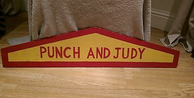 Vintage Wooden Hand Painted Punch And Judy Show Sign  Fairground ,pier, Sideshow