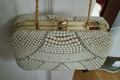 Ladies Pearl Party Prom Bridal Wedding Evening Clutch Hand Bag Purse Handbag