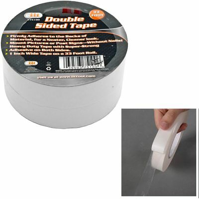 "2 Rolls Double Sided Tape Transparent Heavy Duty Mounting Adhesive 33Ft x1"" Wide"