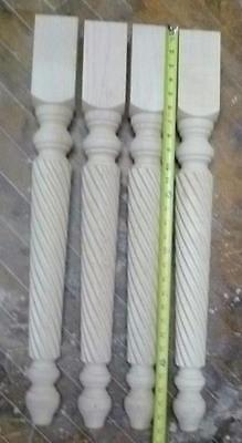 Maple Wood  Table Legs Unfinished 29 x 3 Roped inch set of 4