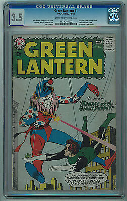 Green Lantern #1 Cgc 3.5 1St Guardians Of The Universe Cr/ow Pgs 1960