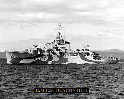 Royal Canadian Navy Frigate Hmcs Beacon Hill K407  Photo With Bonus Stat Sheet