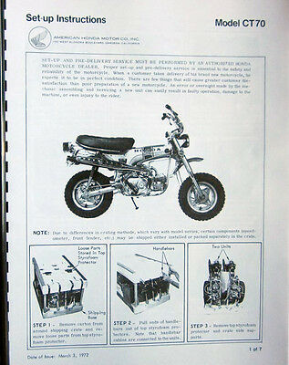 HONDA - CT70 mini-trail - Factory Assembly and set up manual  -