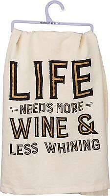 Primitives By Kathy Flour Sack Dish Towel ~ Oh Look It/'s Wine O/'Clock