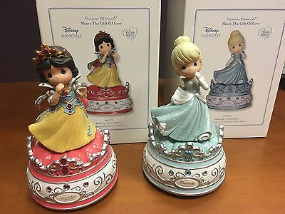 Set of 2 - NEW PRECIOUS MOMENTS DISNEY CINDERELLA & SNOW WHITE MUSICAL FIGURINES