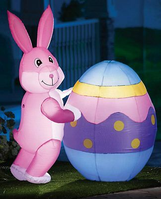 Over 3 Ft. Tall Lighted Inflatable Easter Bunny w/ Egg Outdoor Yard Decor
