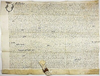 Ornate & Elegant, A 1618 English Indenture With A Large Wax Hanging Seal, Fine