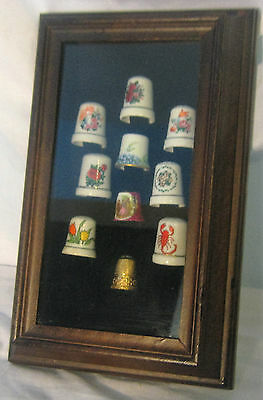 Framed 9 Collectible Porcelain Thimbles, 1 Limoges, 1 Embroidered tip metal