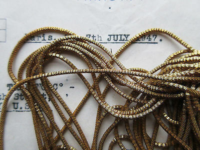 AUTHENTIC FRENCH Vintage Gold Metal Thread Check Purl Bullion Embroidery