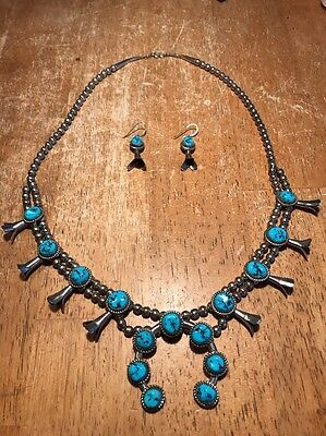 Southwestern Squash Blossom And Turquoise Necklace/ear rings, Sterling, Hallmark