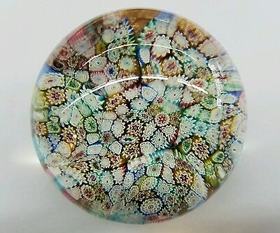 Vintage MILLEFIORI PAPERWEIGHT Wonderful Colors with Tight Canes BEAUTIFUL!