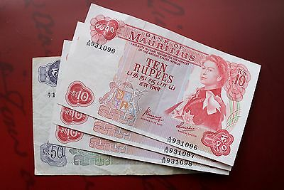 EXTRA RARE LOT - MAURITIUS 3 x 10 RUPEES in serial and 50 RUPEES