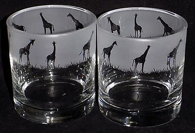 """New Etched """"GIRAFFE WHISKEY GLASS(ES)"""" - You can purchase 1 or 2 - Lovely Gift"""