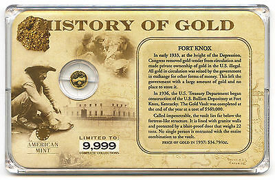 History of Gold 14k .5g Mini Coin Fort Knox Gold Vault In Original Case