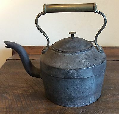 Large Victorian cast iron and brass kettle