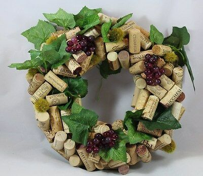 Wine Cork Wreath of Corks, Faux Grape Bunches and Seed Balls