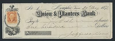 CSA President JEFFERSON DAVIS autograph signed check, 28 May 1872, high-quality