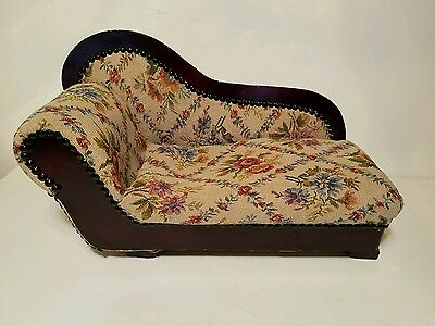 Vintage Doll Sofa Chaise Lounge Chair Hand Made