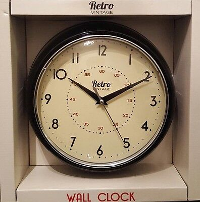 Retro vintage  Shabby wall clock With Chrome Detail 24CM New