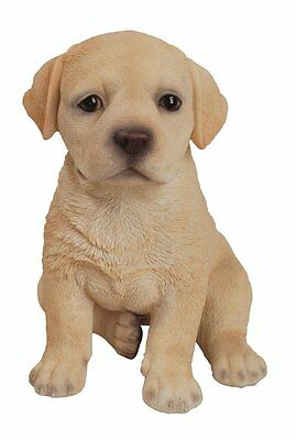 Sitting Yellow LABRADOR Puppy Dog - Life Like Figurine Statue Home / Garden NEW
