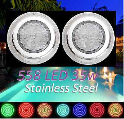 New 2x Stainless Steel 558 LED Lights_ RGB 7Color Swimming Pool Spa Wall Mounted