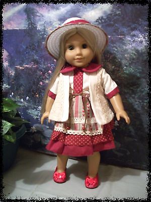 "Hearts Valentines Doll Clothes suitable for American Girl 18"" Dolls,Hat & Shoes"