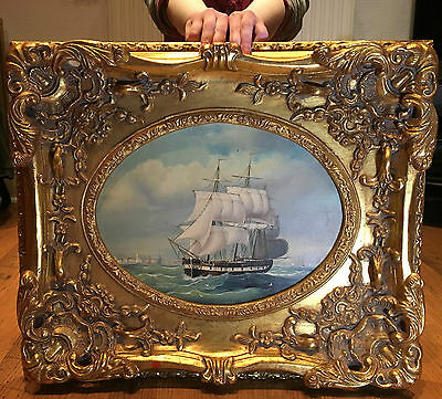 OIL PAINTING LARGE EARLY 20th Century BRITISH GALLEON  WONDERFUL GOLD GILT FRAME