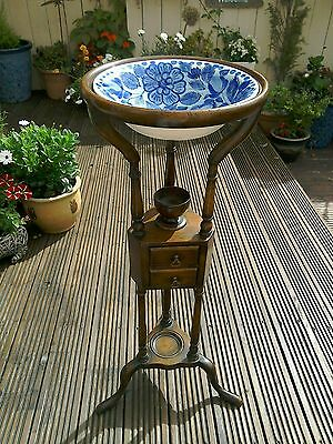 ANTIQUE WOODEN 18th CENTURY POWDER TABLE/WIG STAND