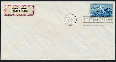 UNITED STATES OF AMERICA 1951 FIRST DAY COVER USA FDC #a356 DETROIT CANCEL!