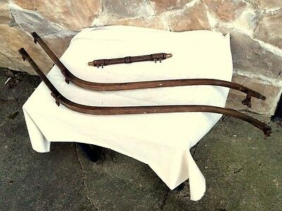 Pair ANTIQUE BABY CARRIAGE BUGGY OAK BENTWOOD HANDLES W PUSH HANDLE 1880