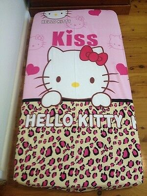 New Pink KISS Hello Kitty Baby Cot Fitted Sheet + Junior Pillowcase