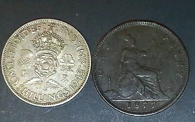 1877 Penny&1942 Florin (Great Britain)